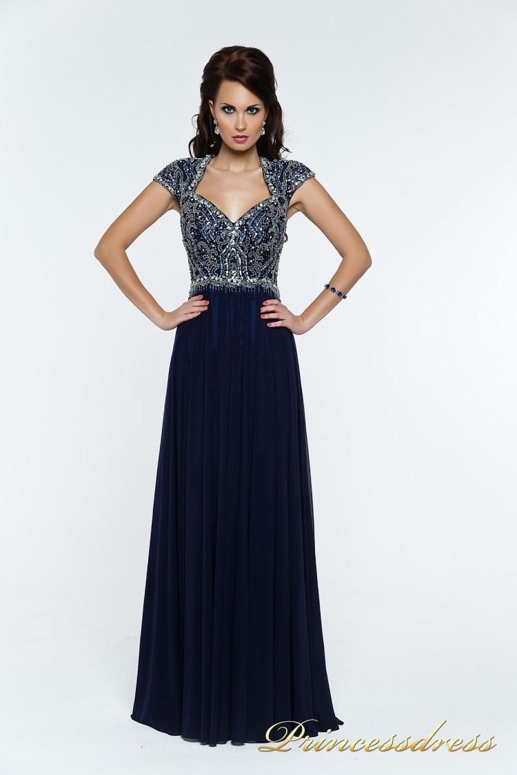 Вечернее платье 12057 синего цвета