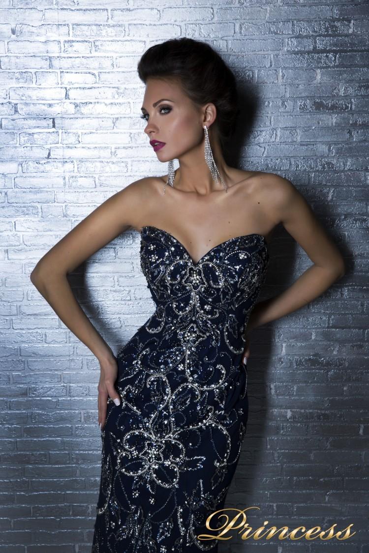 Вечернее платье 12059 синего цвета