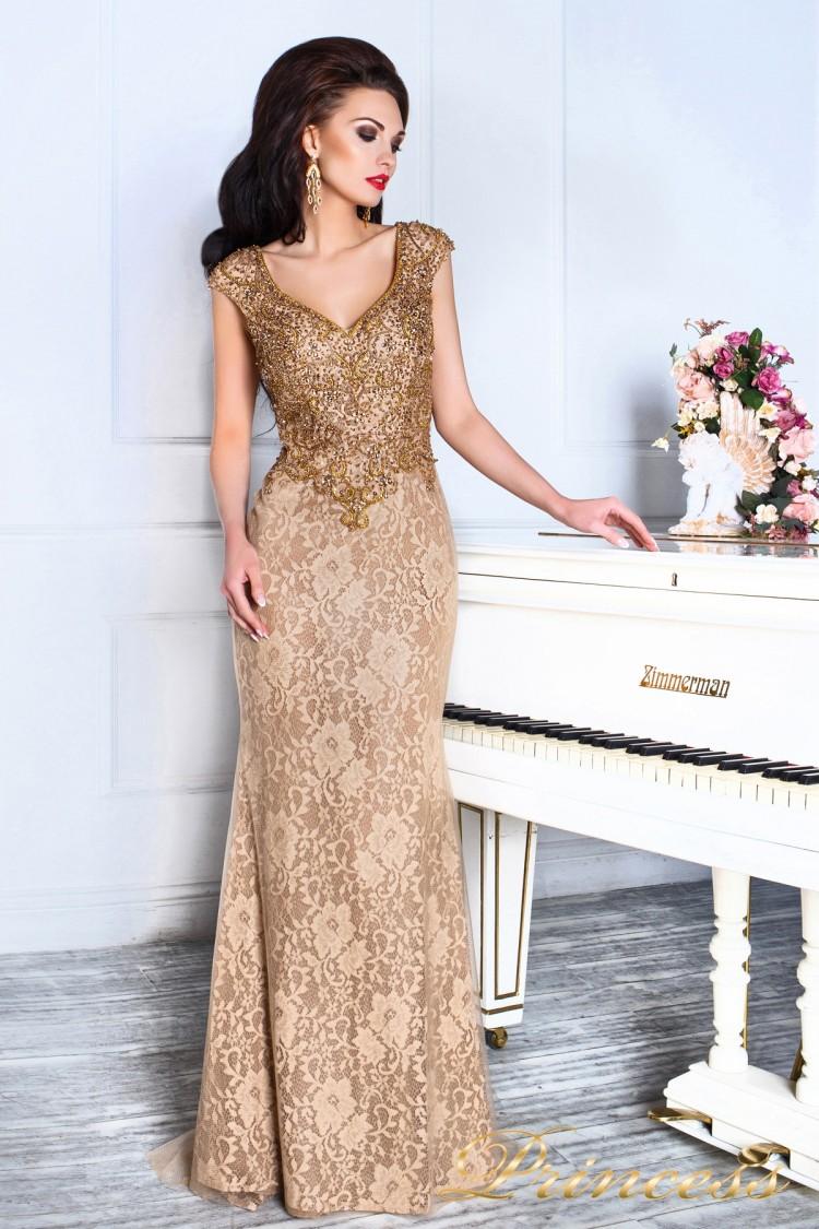 Вечернее платье 12082 золотого цвета