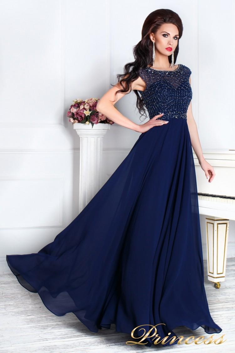 Вечернее платье 12083 синего цвета