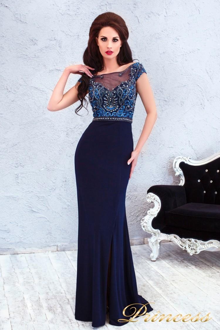 Вечернее платье 12086 синего цвета