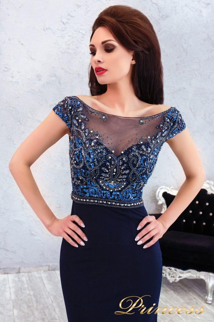 Купить вечернее платье 12086 синего цвета по цене 26500 руб. в ... 9b0e48d2510