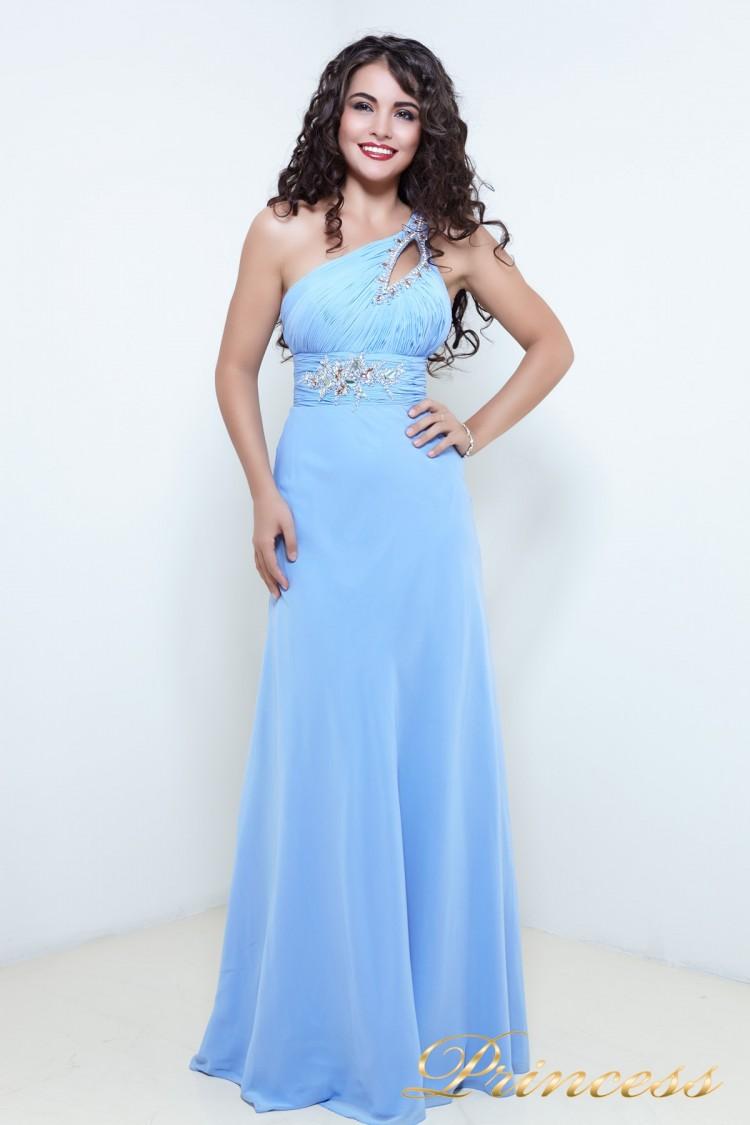 Вечернее платье 12541 голубого цвета