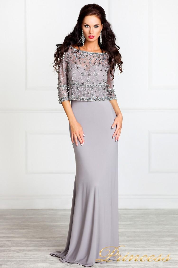 Вечернее платье 13044 стального цвета