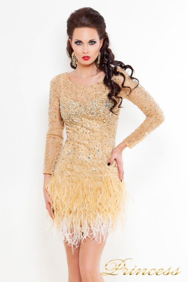 Коктейльное платье 1309 N цвета шампань