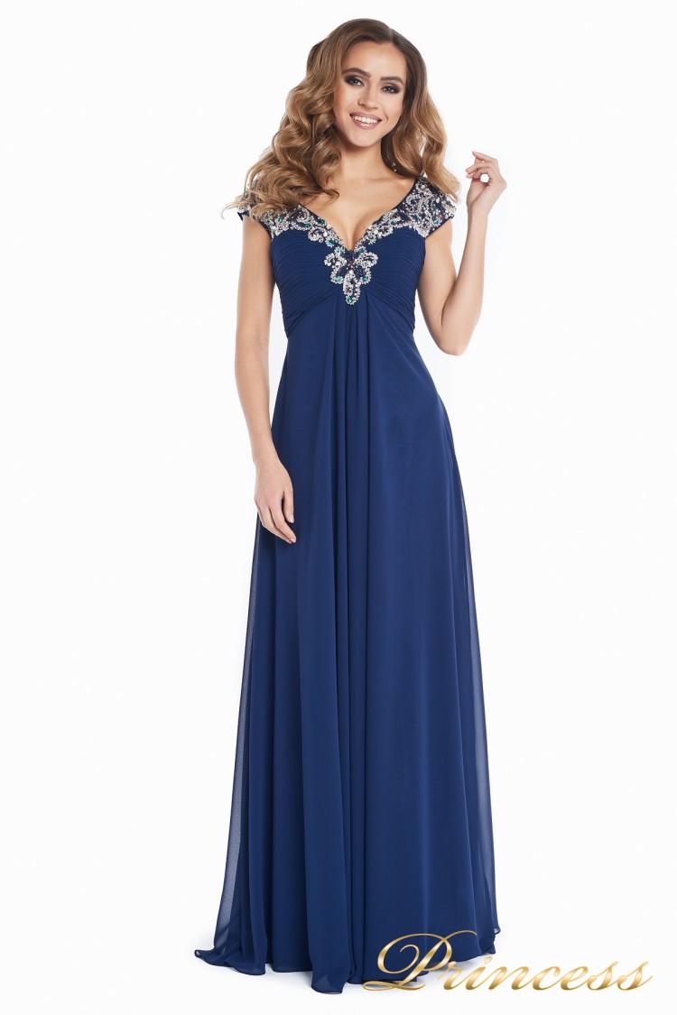Вечернее платье № 131587N синего цвета