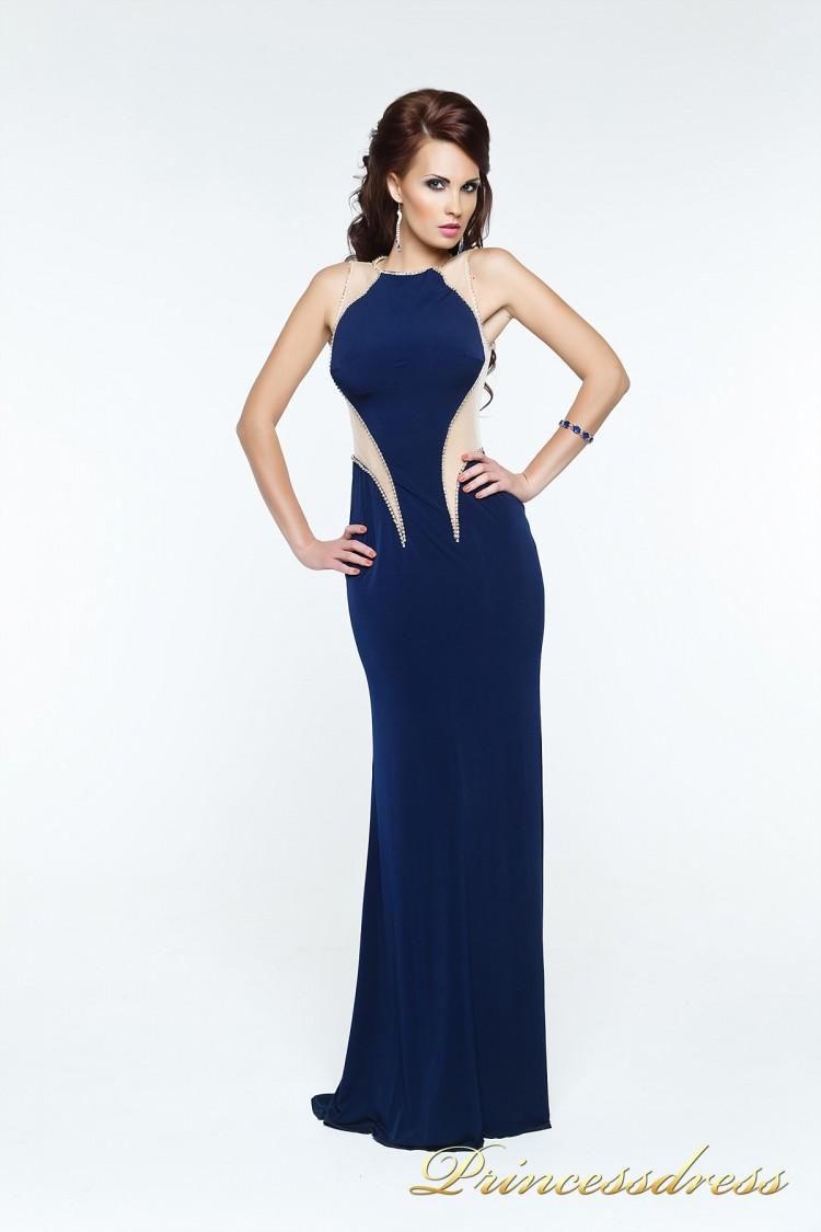 Вечернее платье 131603 синего цвета