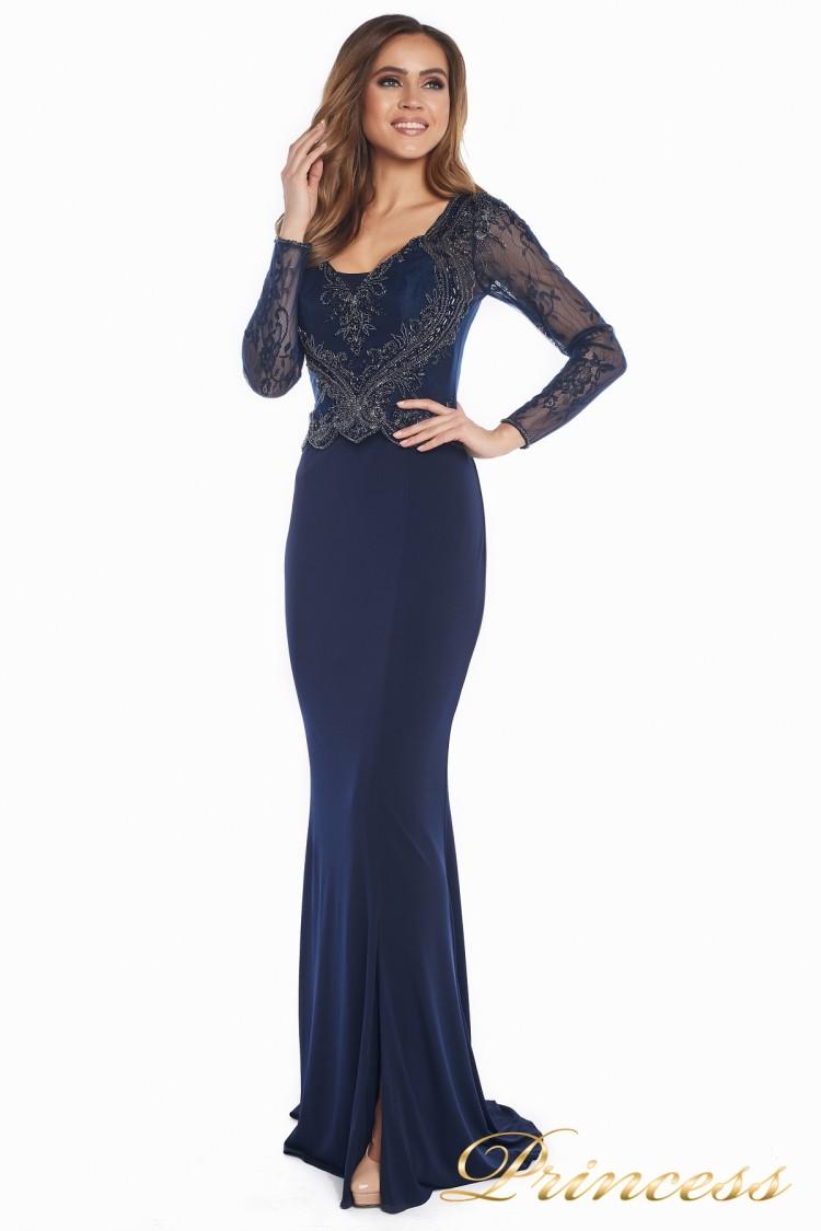 Вечернее платье 3200 navy big size синего цвета