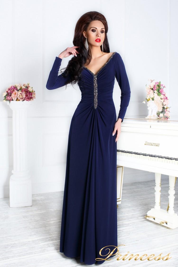 Вечернее платье 13218 синего цвета