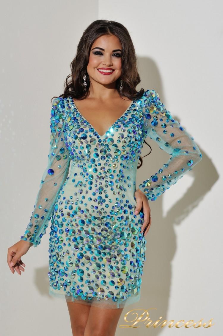 Коктейльное платье 3626 бирюзового цвета