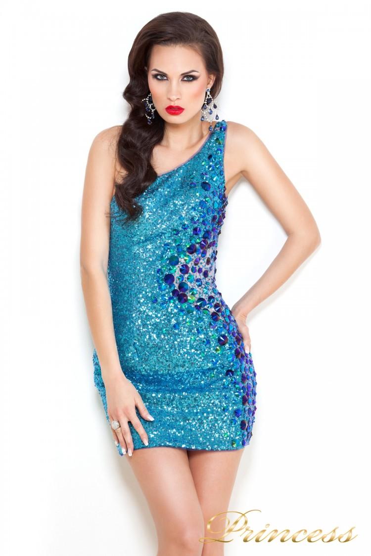 Коктейльное платье 1370N синего цвета