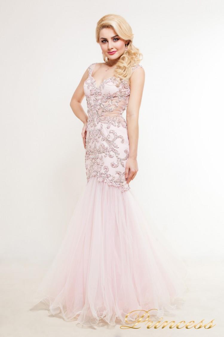 Вечернее платье 1373 розового цвета