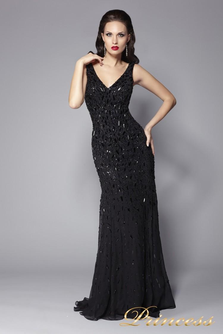 Вечернее платье черное в пол 1321B  чёрного цвета