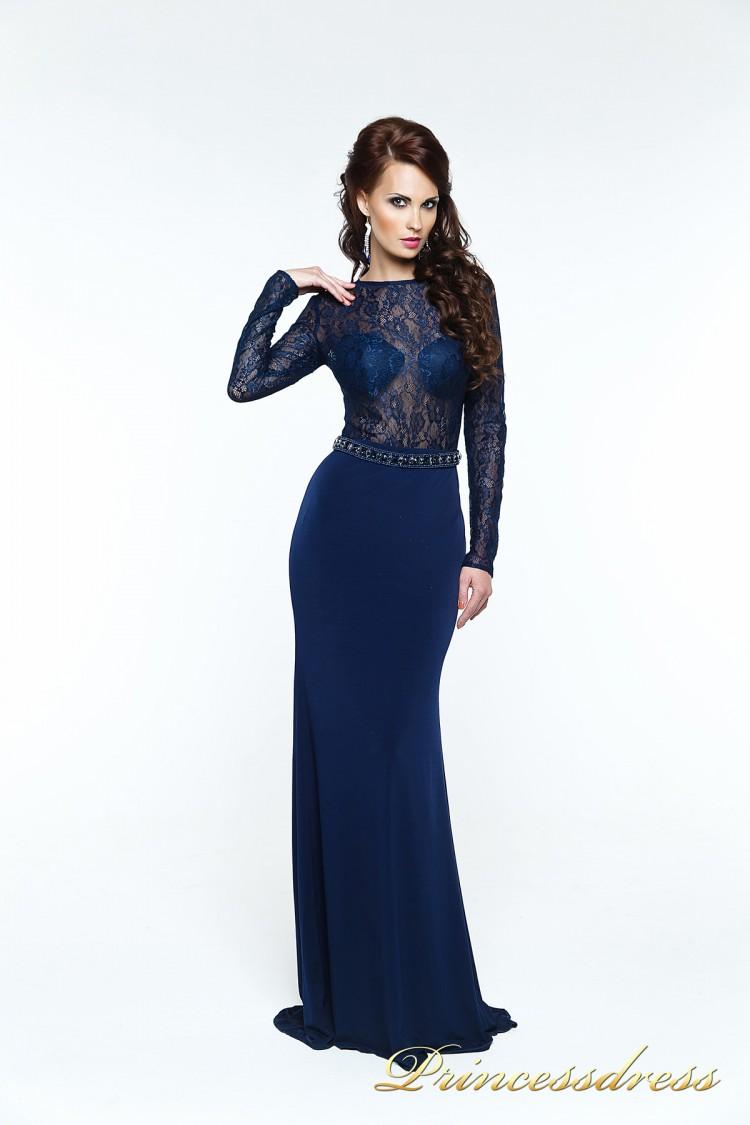 Вечернее платье 140034 синего цвета