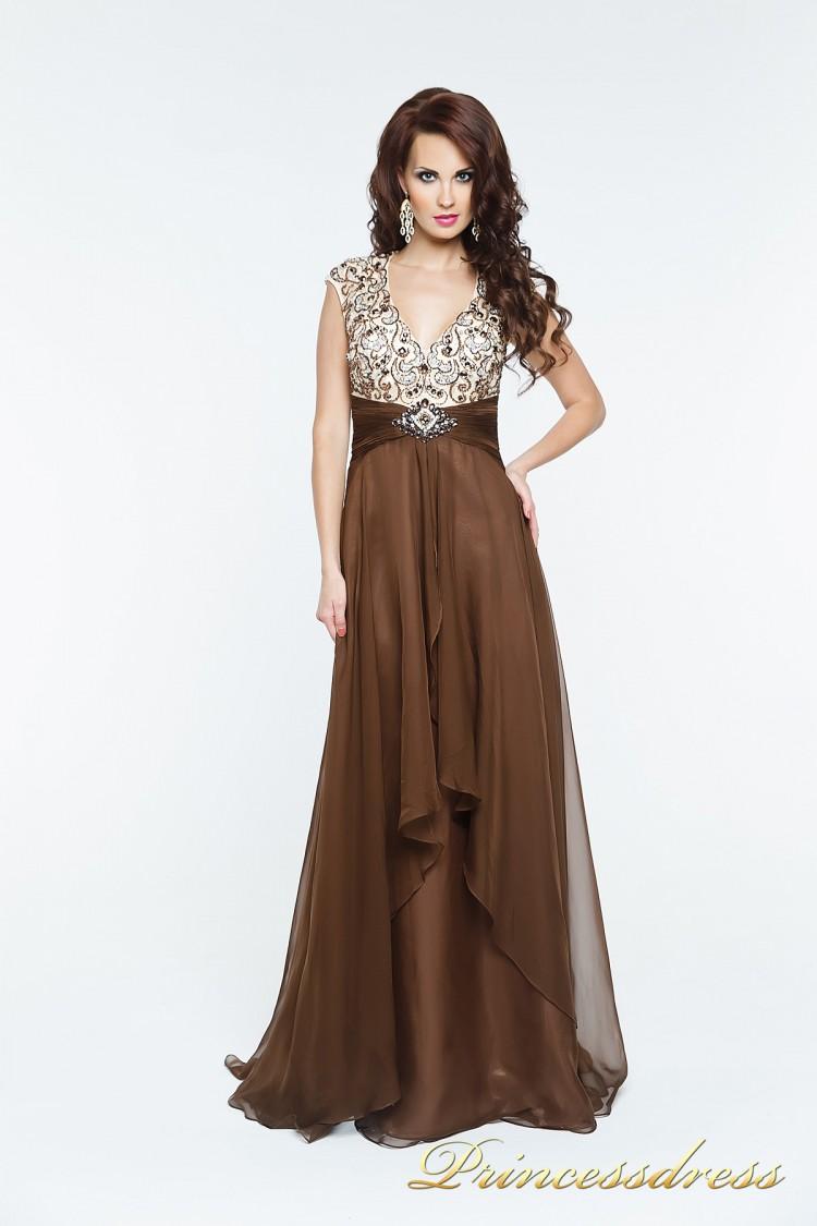 Вечернее платье 140718 коричневого цвета