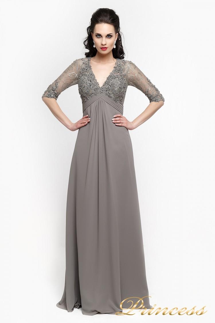 Вечернее платье 140949 стального цвета