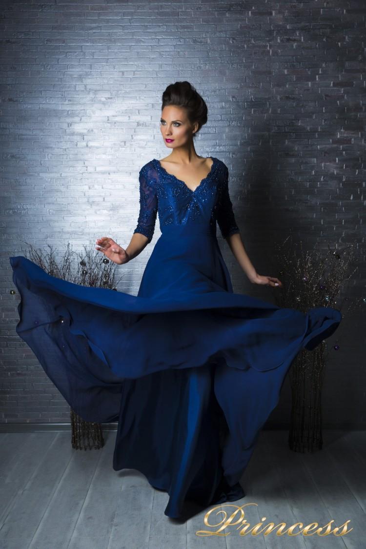 Вечернее платье 140957 синего цвета