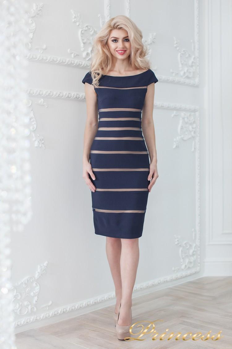 Коктейльное платье 16002 navy-nude синего цвета