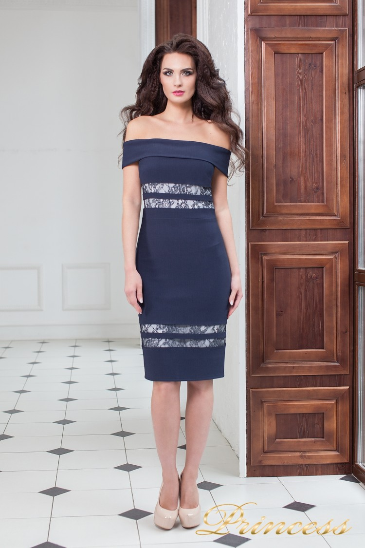Вечернее платье 16071 navy  синего цвета