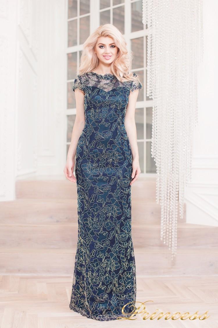 Вечернее платье 1628 navy gold синего цвета