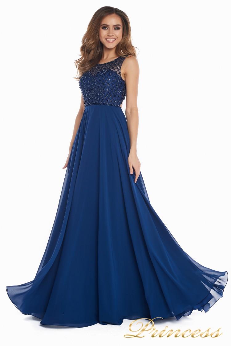 Вечернее платье 166N синего цвета