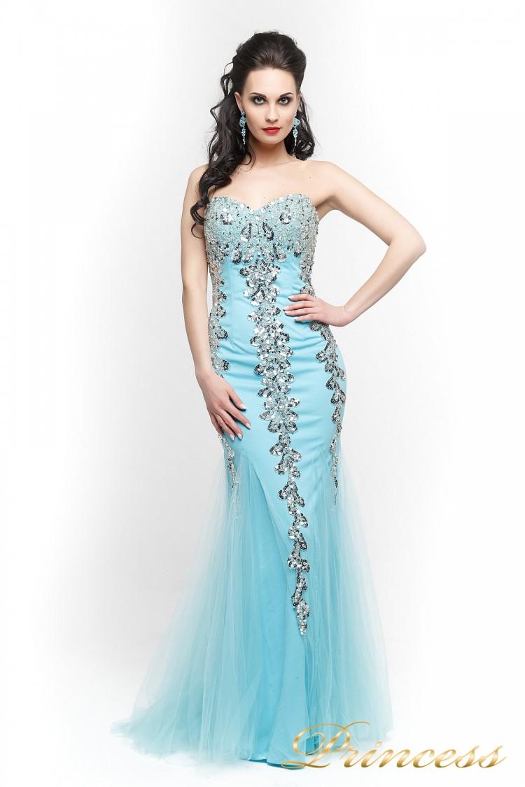 Вечернее платье 17438 голубого цвета