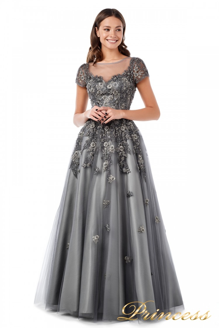 Вечернее платье 18106 серого цвета