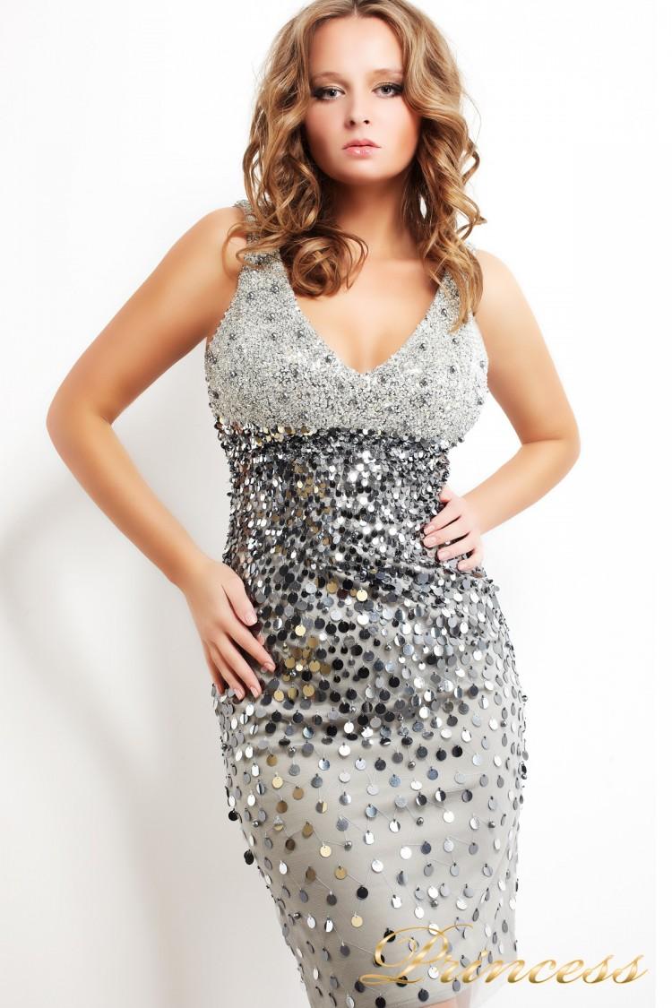 Коктейльное платье 181S серого цвета