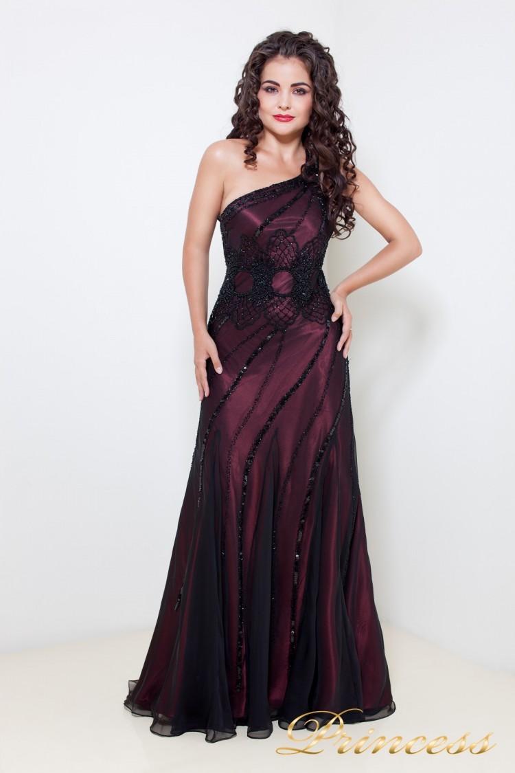 Вечернее платье 869 бордового цвета