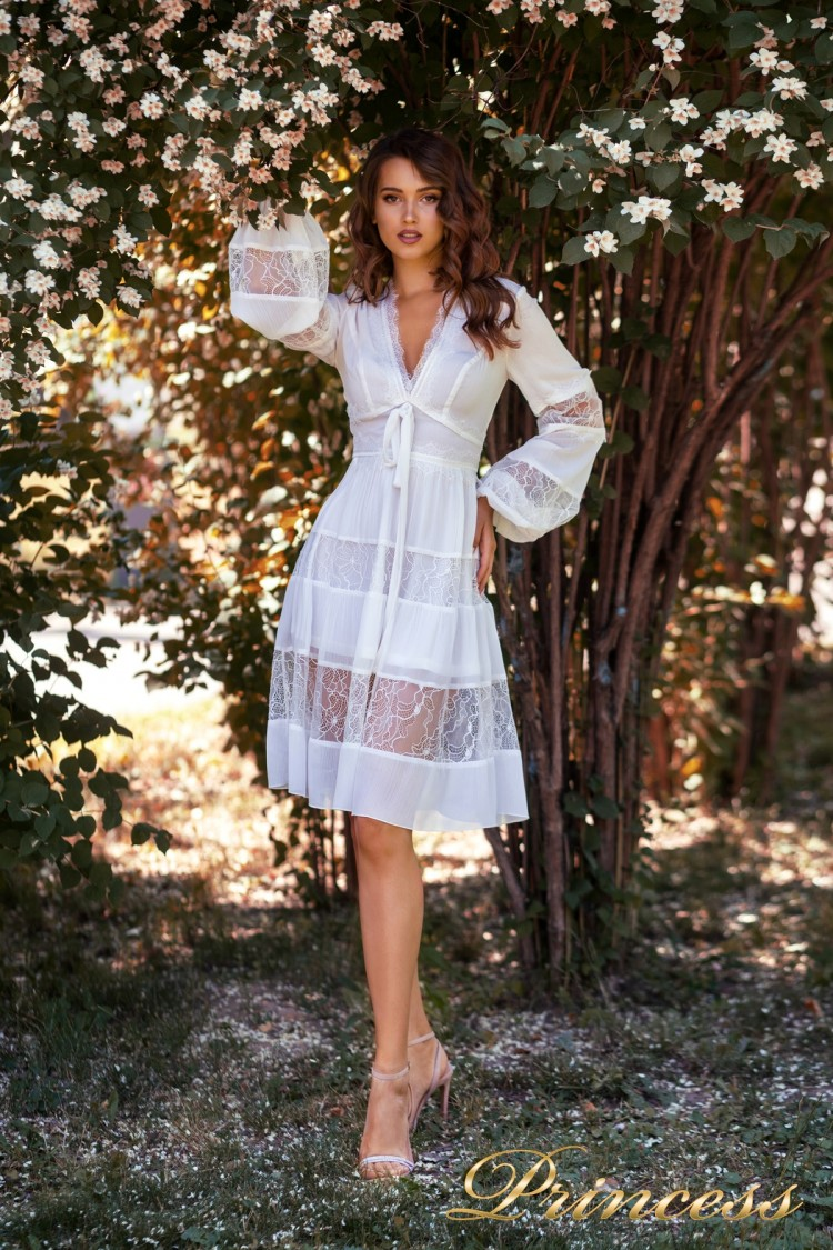 Коктейльное платье NF19034- white белого цвета