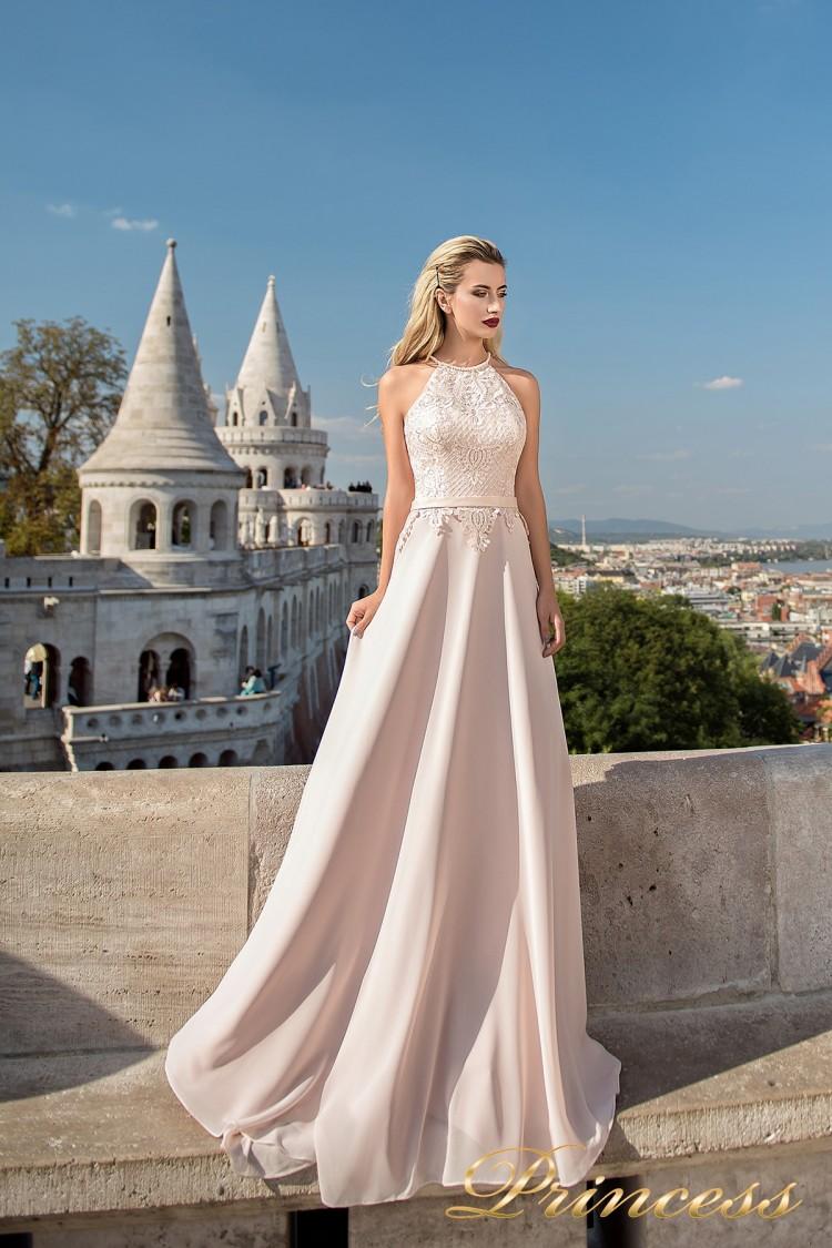 Вечернее платье 7039 бежевого цвета