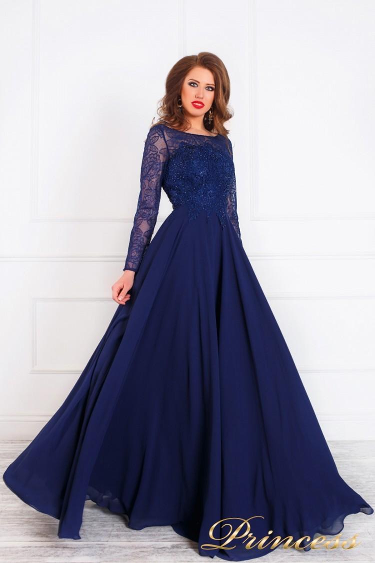 Вечернее платье 20245 синего цвета