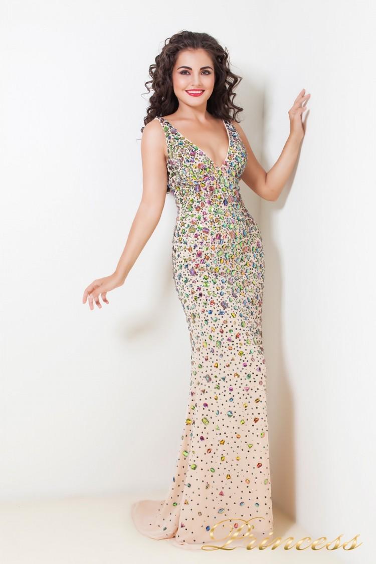 Вечернее платье 1515B цвета шампань