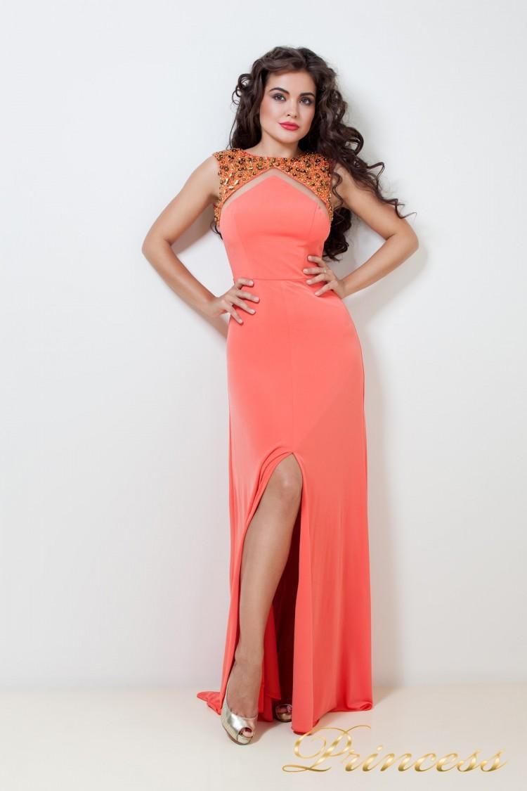Вечернее платье 204Y оранжевого цвета