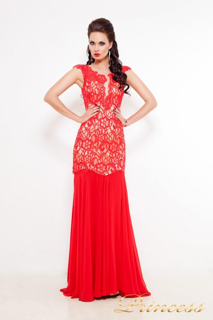 Вечернее платье 213126 красного цвета