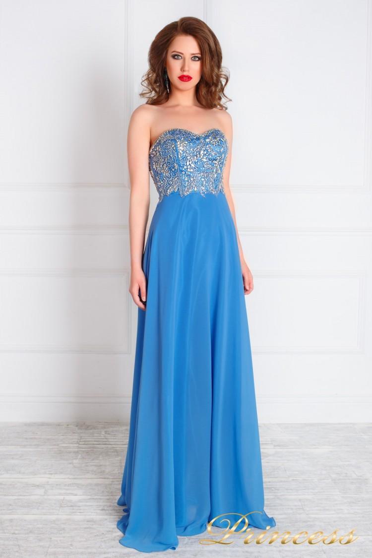 Вечернее платье 213191 синего цвета