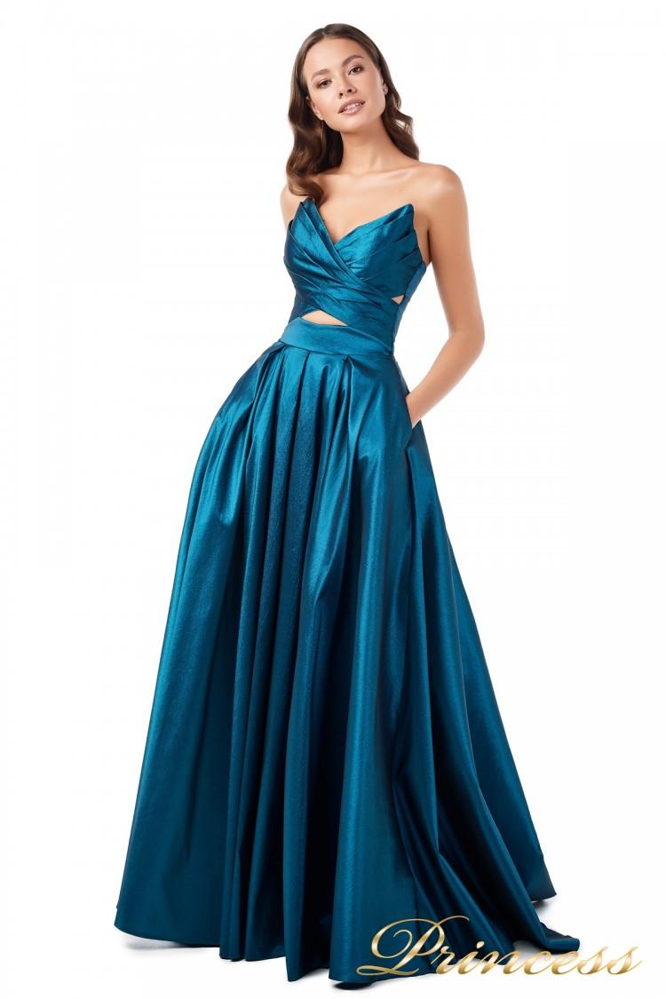 Вечернее платье 227511 бирюзового цвета