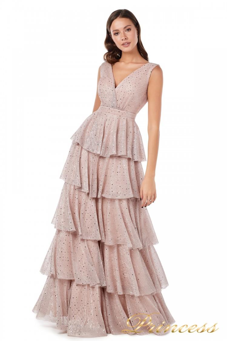Вечернее платье 227604 pink цвета пудра