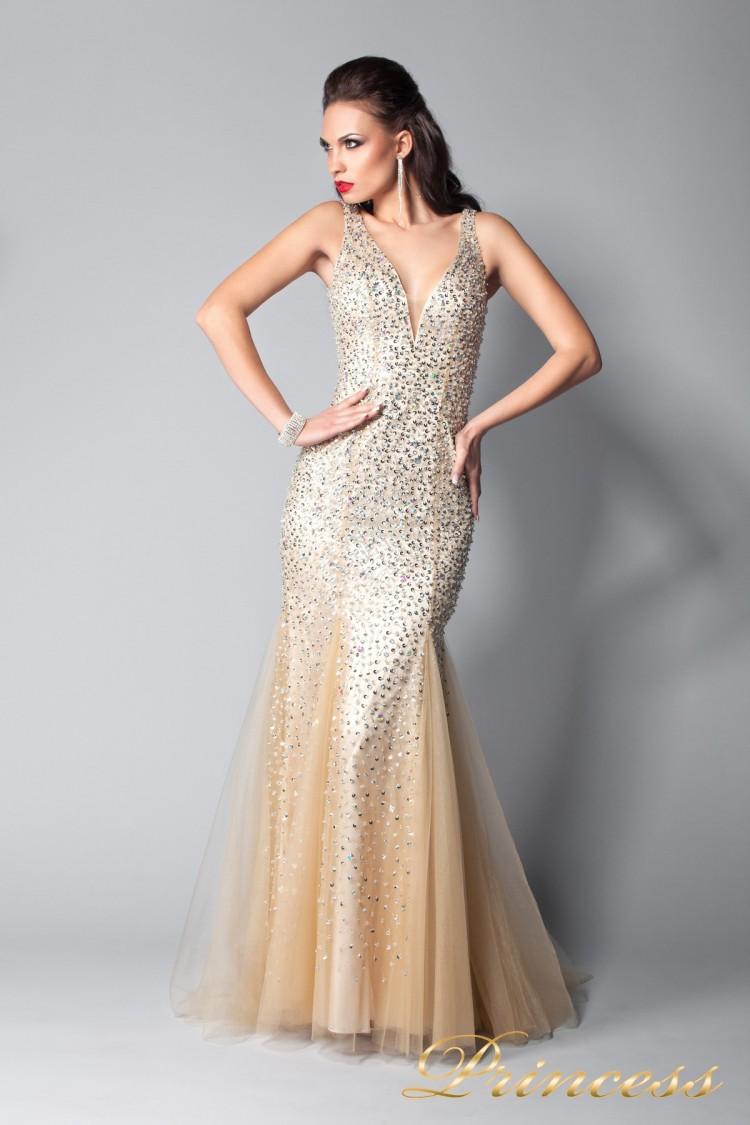 Вечернее платье 265 цвета шампань