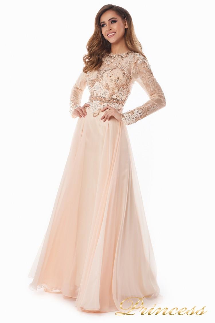 Вечернее платье 2853 персикового цвета