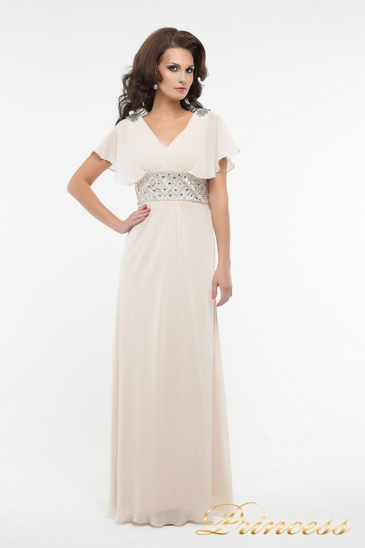 Вечернее платье 30018 бежевого цвета