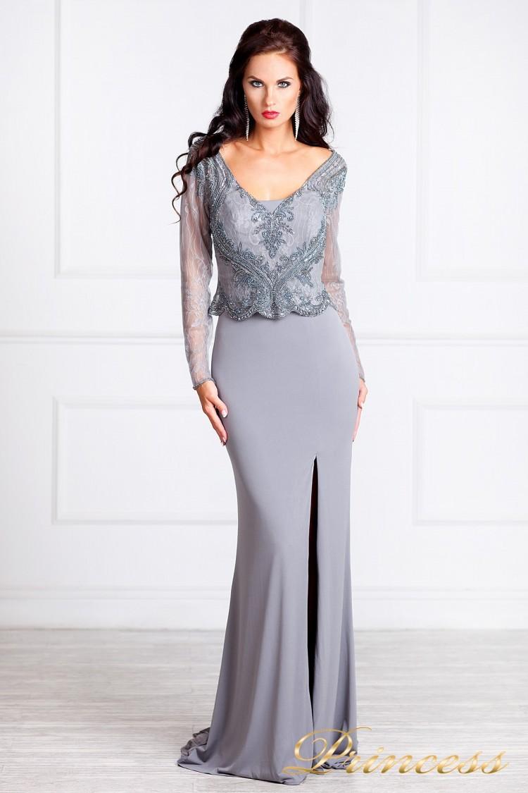 вечернее платье 3200 стального цвета