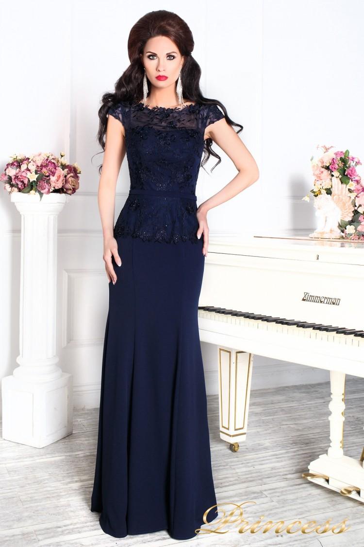 Вечернее платье 12084 темно синего цвета navy синего цвета