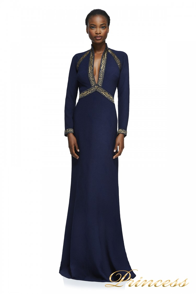 Вечернее платье Tadashi Shoji AXX17679L NV GD синего цвета