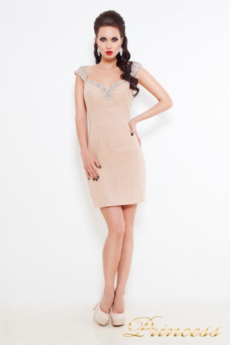 Коктейльное платье 36116 кремового цвета