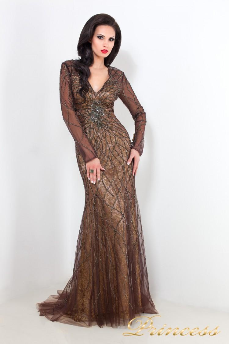 Вечернее платье 3657 коричневого цвета
