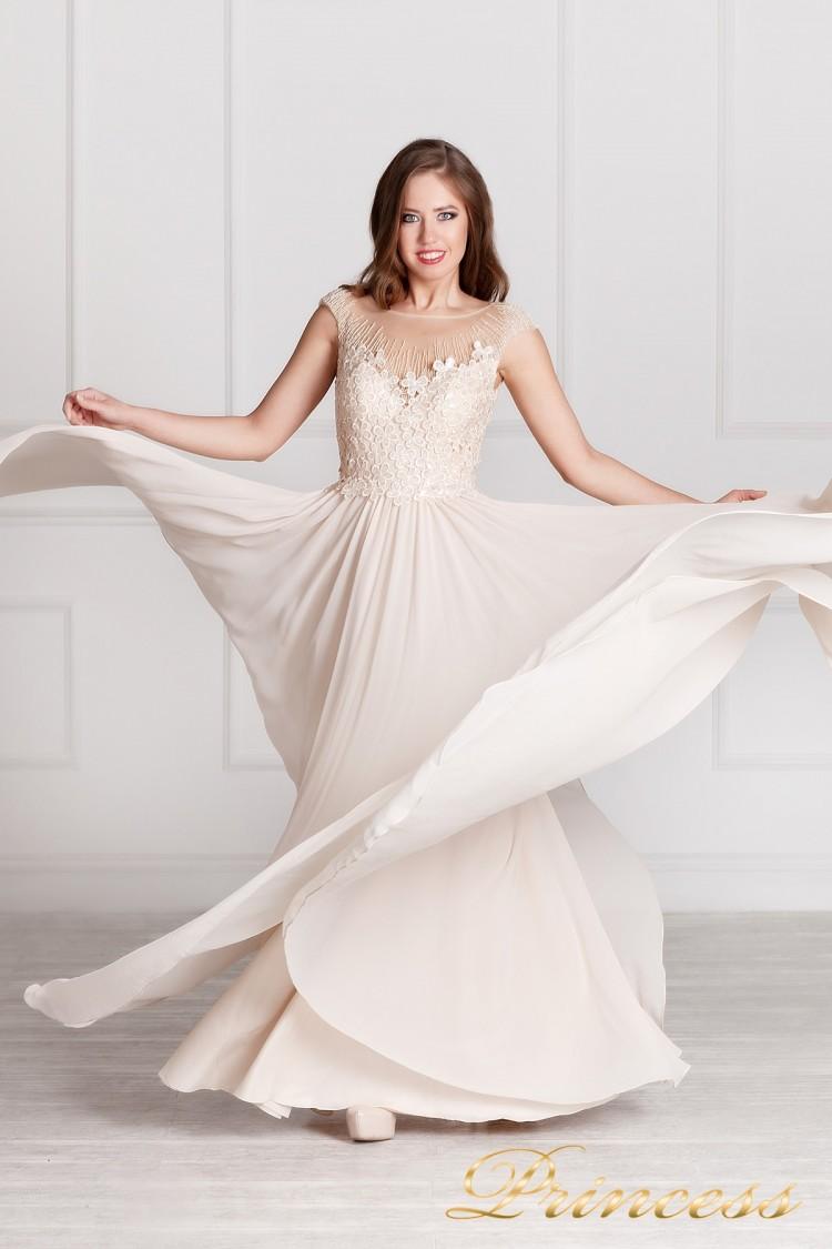 Вечернее платье 4103 бежевого цвета