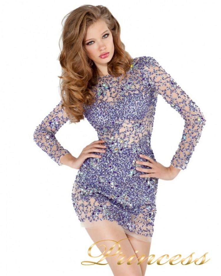 Коктейльное платье 4276 сиреневого цвета