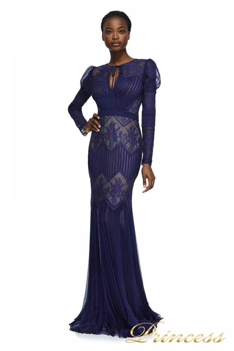 Вечернее платье AZU17675L NOTTE NUDE синего цвета