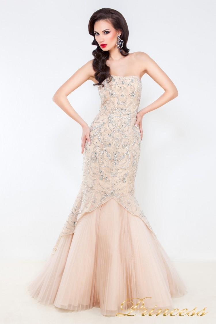 Вечернее платье 4672 кремового цвета